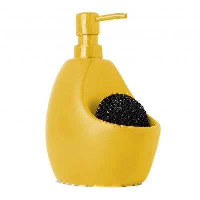 """UMBRA Диспенсър за миещ препарат с отделение за кухненска тел """"JOEY"""" - цвят жълт"""