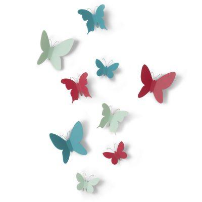 """UMBRA Комплект декорация за стена """"MARIPOSA"""" - 9 бр. пеперуди - 3 размера - 3 цвята"""