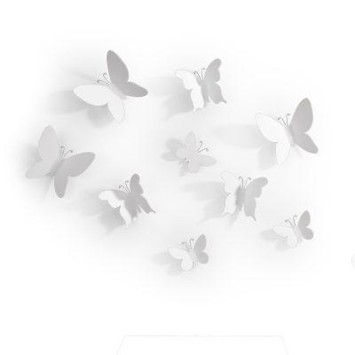 """UMBRA Комплект декорация за стена """"MARIPOSA"""" - 9 бр. пеперуди - 3 размера - цвят бял"""