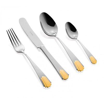 """HERDMAR Комплект прибори за хранене """"EMPIRE"""" - 24 части с позлатен елемент"""