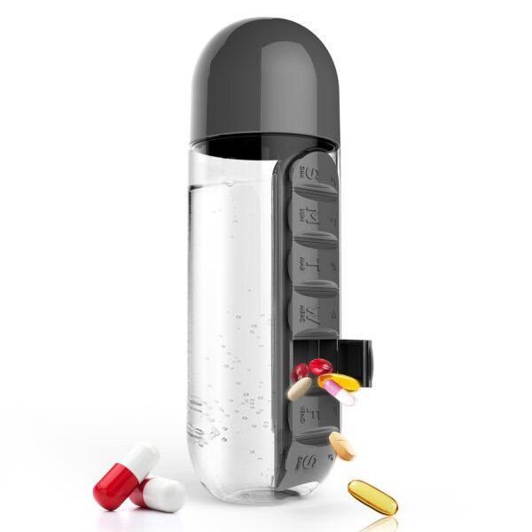 """ASOBU Бутилка за течности с органайзер за хапчета """"IN STYLE"""" - 600 мл - цвят черен"""