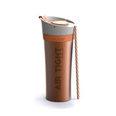 """ASOBU Двустенна термо чаша """"FRESH N GO"""" с вакуумна изолация и система AIR PUMP - 500 мл - цвят оранжев"""