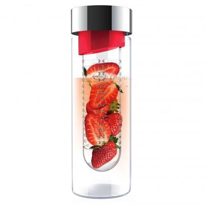 """ASOBU Стъклена бутилка с инфузер """"FLAVOUR IT"""" - 480 мл - цвят червен/сребрист"""