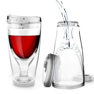 "ASOBU Тристенна охлаждаща чаша за вино с капак ""ICE VINO 2GO"" - 300 мл"