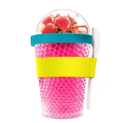 """ASOBU Двустенна охлаждаща чаша с прибор """"CHILL YO 2 GO"""" - цвят розов"""