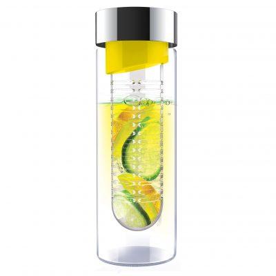 """ASOBU Стъклена бутилка с инфузер """"FLAVOUR IT"""" - 480 мл - цвят жълта/сребриста"""