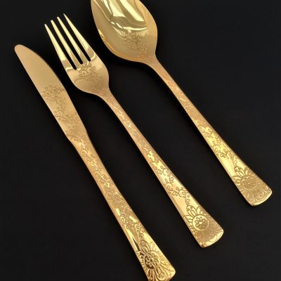 """HERDMAR Комплект прибори за хранене """"NAMISH"""" - 51 части - позлатени / гланц"""