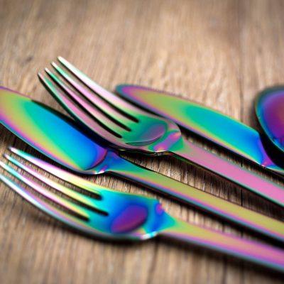 """HERDMAR Комплект прибори за хранене """"SPIGA""""- 36 части - Rainbow / дъга / - PVD покритие"""