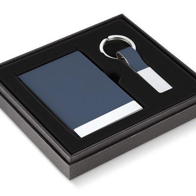 """PHILIPPI Бизнес подарък """"TODD"""" от 2 части - визитник и ключодържател - син цвят"""