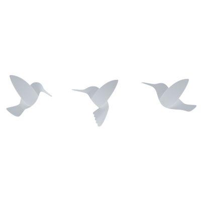 """UMBRA Комплект декорация за стена """"HUMMINGBIRD"""" - 9 бр. колибри - бял цвят"""