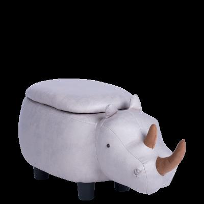 Детска табуретка с ракла - сив носорог