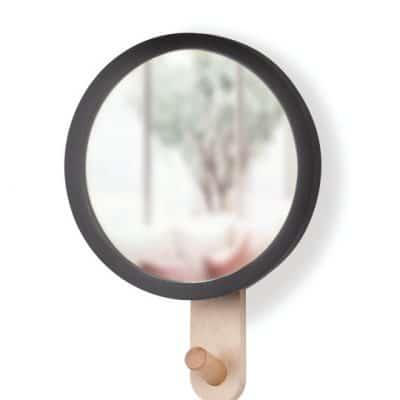 """UMBRA Огледало за стена със закачалка """"HUB"""" - цвят черен / натурално дърво"""