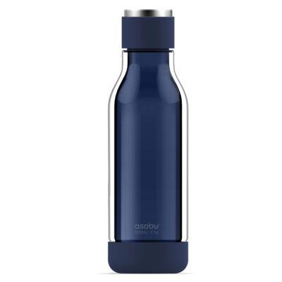 """ASOBU Двустенна бутилка """"INNER PEACE"""" - стъкло/тритан - 500 мл  - синя"""