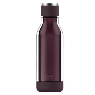 """ASOBU Двустенна бутилка """"INNER PEACE"""" - стъкло/тритан - 500 мл - тъмно червена"""