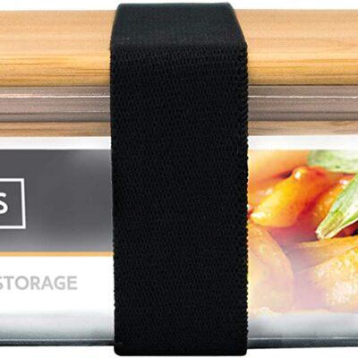 Nerthus Стъклена кутия за храна с херметическо затваряне и бамбуков капак - 1