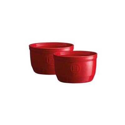 """EMILE HENRY Комплект 2 броя керамични купички / рамекини """"RAMEKINS SET N°10"""" - цвят червен"""