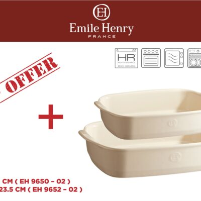 """EMILE HENRY Комплект от 2 броя керамични форми за печене """"RECTANGULAR OVEN DISH """"- цвят екрю"""